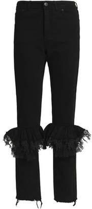 Preen By Thornton Bregazzi Woman Ruffled Lace-trimmed High-rise Slim-leg Jeans White Size S Preen hyhFZ9