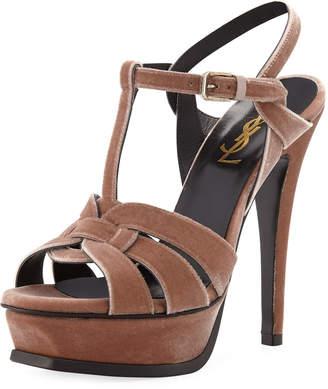 1cf53125075 Saint Laurent Tribute Velvet Platform Sandals
