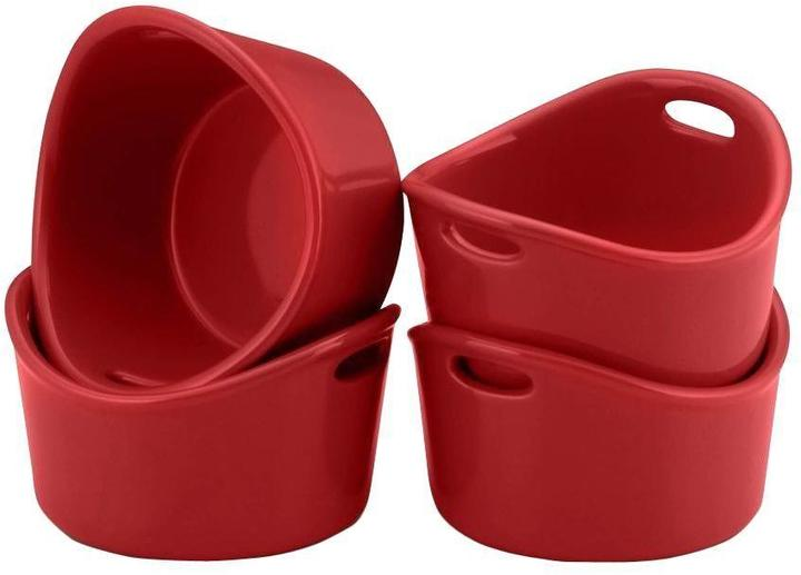Rachael Ray Bubble & Brown 10 oz. Round Ramekins in Red (Set of 4)