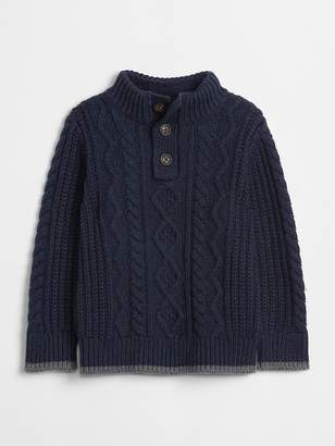 Gap Sherpa-Lined Henley Sweater