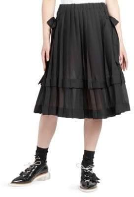 Simone Rocha Pleated Georgette A-line Skirt