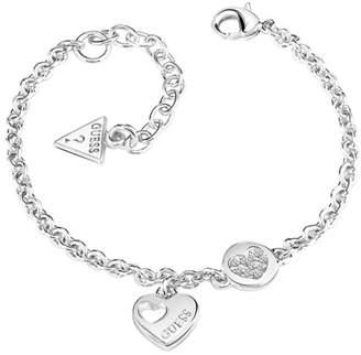 GUESS Rhodium Plated Sparkle Heart Chain Bracelet Ubb82057-L