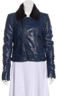 Balenciaga Faux Fur-Trimmed Leather Jacket