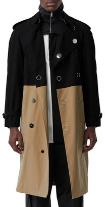 Burberry Double Breasted Colorblock Trench Coat