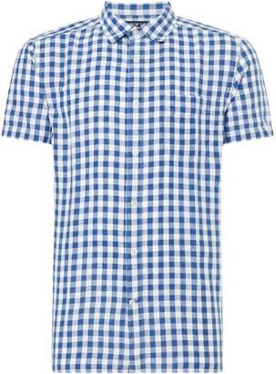 Howick Men's Linen Blend Gingham Short Sleeve Shirt