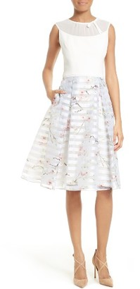 Women's Ted Baker London Monah Mixed Media Fit & Flare Dress $429 thestylecure.com