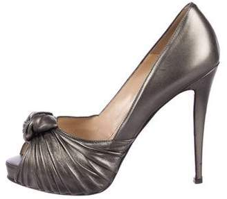 Christian Louboutin Metallic Leather Peep-Toe Pumps