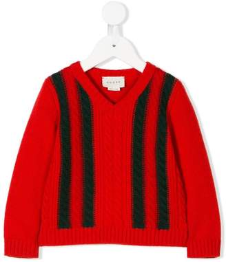 Gucci Kids striped cable knit jumper
