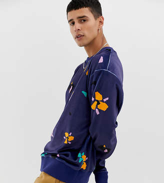 Collusion COLLUSION velour printed floral sweatshirt in navy