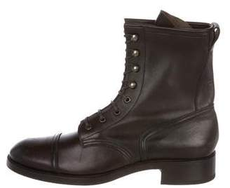 Tom Ford Cap-Toe Leather Combat Boots