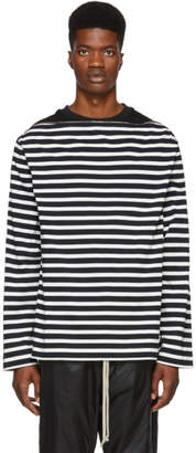 Juun.J Navy and White Striped Underlay Sweatshirt