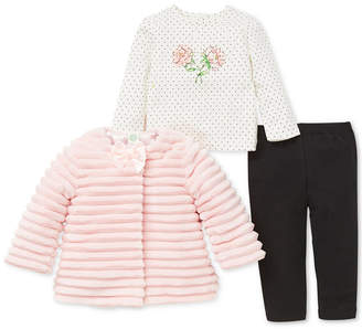 Little Me Baby Girls 3-Pc. Faux Fur Jacket, Top & Leggings Set