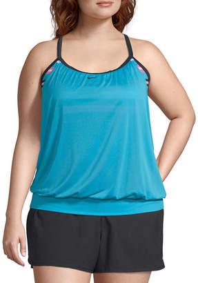 Nike Stripe Blouson Swimsuit Top-Plus