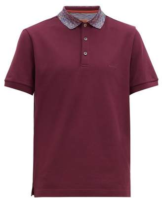 Missoni Space Dyed Collar Cotton Pique Polo Shirt - Mens - Burgundy