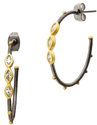 Women's Freida Rothman Marquise Station Hoop Earrings $135 thestylecure.com
