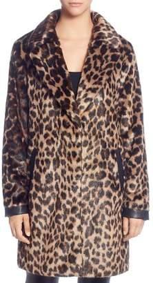 T Tahari Leopard Print Faux Fur Coat