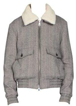 Ami Shearling-Trim Wool-Blend Bomber Jacket