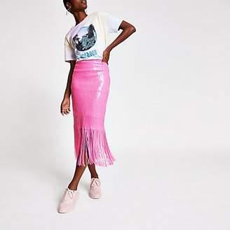 River Island Pink sequin tassel pencil skirt