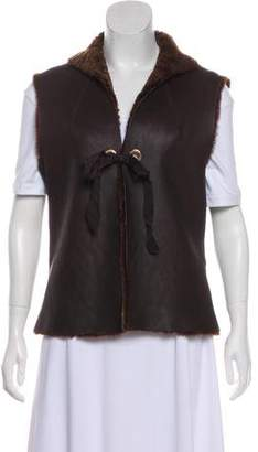 Tory Burch Leather Shearling Vest w/ Tags