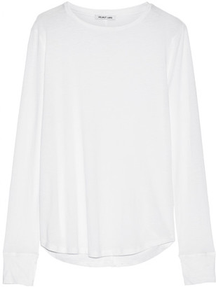 Helmut Lang - Cotton And Cashmere-blend Jersey Top - White $175 thestylecure.com