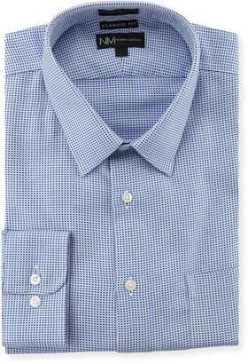 Neiman Marcus Classic-Fit Non-Iron Check Dress Shirt, Blue