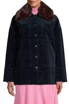 Ganni Ridgewood Faux Fur Collar Corduroy Jacket