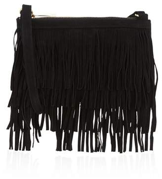 Oasis Leather Fringe Clutch