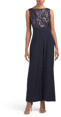 Petite Embroidered Panel Sequin Jumpsuit