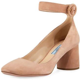 Prada Suede Block-Heel Ankle-Wrap Pump