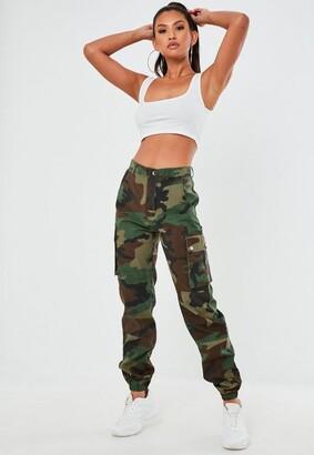 Missguided Premium Khaki Camo Printed Cargo Pants