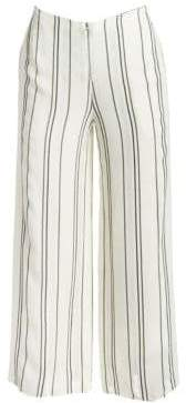 Proenza Schouler Women's Crepe Striped Flare-Leg Pants - White - Size 0