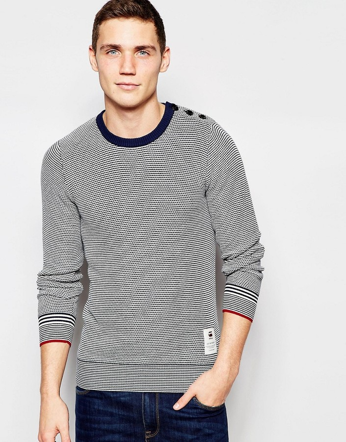 G-Star Crew Sweater Viltran Knit Blue and White Stripe