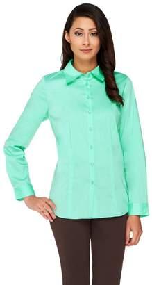 Susan Graver Stretch Woven Long Sleeve Button Front Shirt