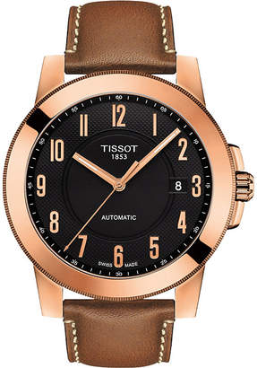 Tissot T098.407.36.052.01 Gentleman rose gold-plated stainless steel and leather watch