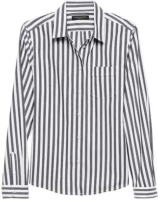 Banana Republic Petite Quinn Boy-Fit Stripe Super-Stretch Shirt