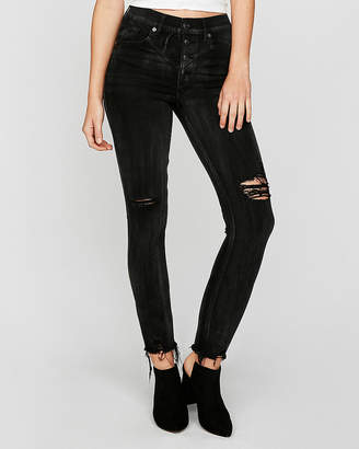 Express Black High Waisted Button Fly Stretch Ankle Jean Leggings
