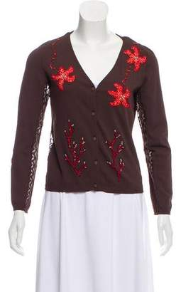 Blumarine Embellished Lace-Trimmed Cardigan