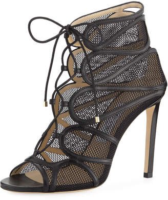 Jimmy Choo Malena Open-Toe Lace-Up Sandal Booties