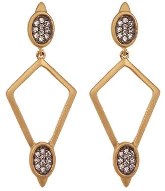 Freida Rothman Contemporary Deco CZ Accent Open Diamond Drop Earrings