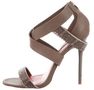 Charles Jourdan Leather & Snakeskin Sandals