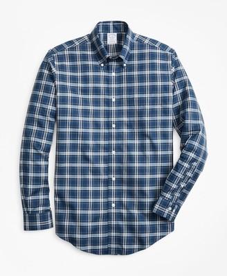 Brooks Brothers Non-Iron Regent Fit Herringbone Plaid Sport Shirt