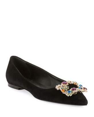 Suede Ballet Flats with Flower-Crystal Buckle