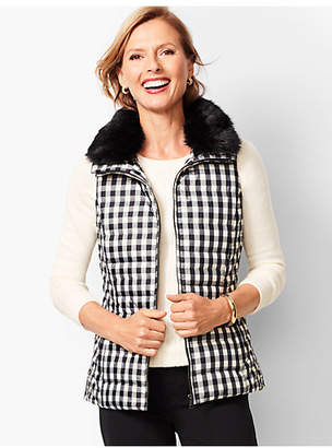 Talbots Down Faux-Fur Collar Puffer Vest - Buffalo Plaid