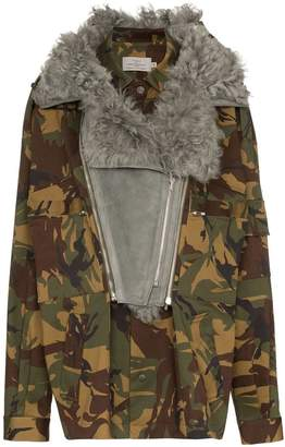 Preen by Thornton Bregazzi Dree shearling collar camouflage cotton blend jacket