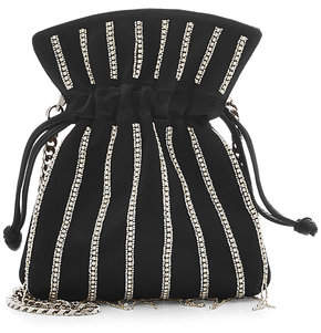 Les Petits Joueurs Nano Trilly Disco Stripes Embellished Satin Pouch