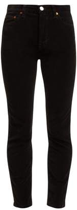 RE/DONE High Rise Cropped Velvet Jeans - Womens - Black