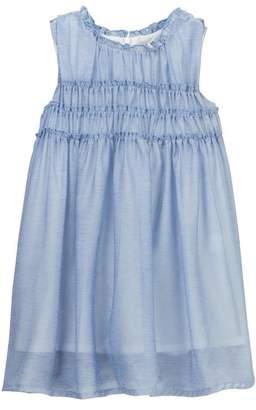 DOE A DEAR Sleeveless Ruffled Shirred Bodice Dress (Toddler Girls)