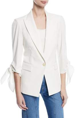 Veronica Beard Corrine Single-Breasted Tie-Cuff Dickey Jacket