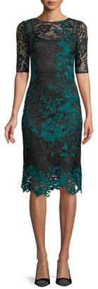 Rickie Freeman For Teri Jon Half-Sleeve Two-Tone Lace Overlay Cocktail Dress