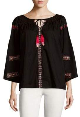 Kas Dora Embroidered Peasant Cotton Blouse